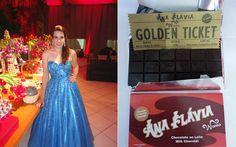 Como AMA cinema, a Ana escolheu a Fantástica Fábrica de Chocolates como tema para a decoração da festa. E, com muito empenho, a aniversariante conseguiu organizar uma festa superelaborada, com MUITOS doces e elementos lindos.