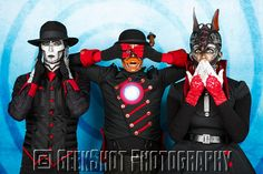 Hear no evil. See no evil. Speak no evil. The robots of Steam Powered Giraffe. You can find this and many more official SPG prints in the GeekShot store.
