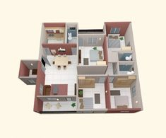 4 Bedroom Apartment/House Plans  40) four-small-bedrooms