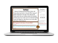 "Short reading comprehension passages and questions that come with access to a digital version for Google Slides™ to use with Google Classroom™. Do your students struggle with showing how they came up with an answer from a reading passage? It's time to tell them to ""Prove it!"" With these short nonfiction passages, your students can have daily practice proving their answers by color coding the text evidence. Themes are turkeys, Wampanoag, candy corn, and nutrition."