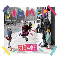 summer jump rope design vintage collage art illustration retro 1960 1950 1970 color pop graphic type typography font kids kid time july june august summertime ice cream yellow pink blue red words word