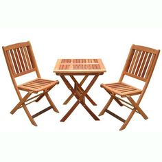 VIFAH V03SET1 Outdoor Wood 3-Piece Bistro Set, Natural Wood Finish, 24 by 24 by 27-Inch by VIFAH. $278.95. 1 folding bistro table. 2 folding chairs. Eucalyptus is mold, mildew, fungi, termites, rot and decay resistant. Eucalyptus is pre-treated, expertly kiln-dried, extremely durable for outdoor/indoor use. Made out of FSC-certified eucalyptus. Design: The simple, portable design of this bistro set makes it a timeless addition to your deck or balcony. It's a piece of gorgeou...