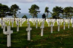 Cemetery above Normandy Beach in France. It strikes you that if one of these crosses were your father or grandfather, you wouldn't be around. We gave thanks.