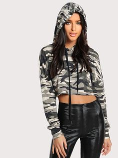 Shop Olive Green Camo Print Crop Hoodie at ROMWE, discover more fashion styles online. Crop Top Hoodie, Cropped Hoodie, Fashion News, Fashion Outfits, Fashion Fashion, Winter Fashion, Vintage Fashion, Cheap Hoodies, Hoodie Outfit