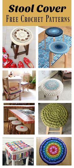 18 Ideas For Crochet Mandala Cushion Stool Covers Crochet Home, Cute Crochet, Crochet Crafts, Crochet Baby, Crochet Projects, Crochet Mandala Pattern, Crochet Patterns, Crochet Ideas, Crochet Furniture