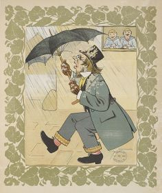 The Tricks of Naughty Boys. (A series of amusing transformation scenes.) - caption: 'A man having opened his umbrella, is the victim of a pr...