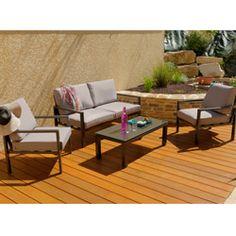 Ce salon de jardin fil noir et blanc Rio 2 places et coussin ivoire ...