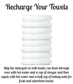 Recharge your towels! Run them through laundry twice - skip detergent both loads.    First load: hot water + a cup of vinegar. Second load: hot water + 1/2 cup baking soda.  Towels are fresh and absorbent.