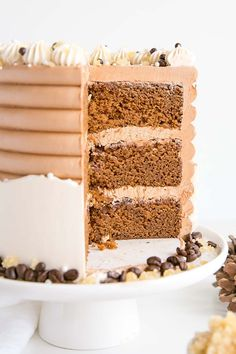This Gingerbread Latte Cake is your favourite Holiday drink in cake form! Gingerbread spice cake layers with an espresso buttercream.