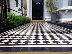 balham black and white victorian mosaic tile path sandstone paving yellow brick london wall and imperial metal iron gate Victorian House London, Victorian Front Garden, Exterior Tiles, Exterior Front Doors, Victorian Mosaic Tile, Outside Tiles, Porch Tile, House Front, Front Porch