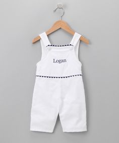 Look what I found on #zulily! White & Navy Personalized Shortalls - Infant & Toddler #zulilyfinds