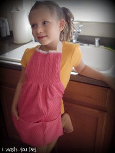 Children's Dish Towel Apron -- with tutorial.