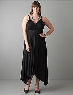 Uneven hem dress offers feminine style with edge. Curves take center stage with flattering surplice neckline, twisted straps and waist-defining elastic hem. Versatile and simply stunning, no matter how you accessorize it! lanebryant.com
