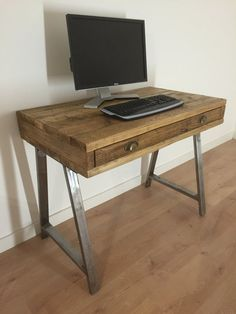Reclaimed Pine Box Desk with Drawer Solid Wood by Kowoodworksltd