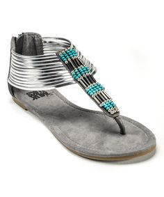 Another great find on #zulily! Silver Lola Beaded Sandal by MUK LUKS #zulilyfinds