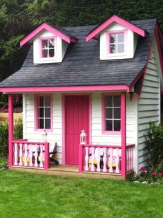 Backyard Playhouse, Build A Playhouse, Playhouse Ideas, Outdoor Playhouses, Cubby Houses, Play Houses, Dream Houses, Little Girls Playhouse, Pink Playhouse