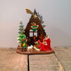 Vintage Plastic Nativity Manger Scene by melissasretroxmas on Etsy