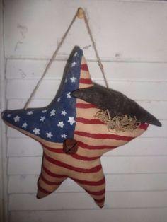 Primitive Grungy Americana Star Hanger Crow Ornie Patriotic Handmade #NaivePrimitive #Handmade