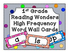 First Grade Reading Wonders Unit 1-6 high frequency word cards for  word wall…