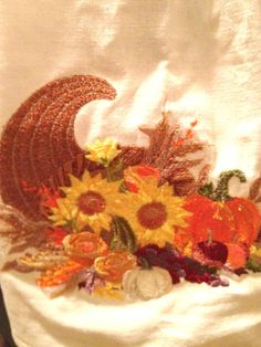 kitchen towel with topper/cornucopia /sun flower by IlNostroNido, $9.50