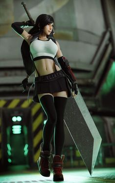 Tifa Lockhart with Buster Sword - Final Fantasy VII [Fanart by Srealiata] Mobius Final Fantasy, Final Fantasy Girls, Final Fantasy Characters, Final Fantasy Artwork, Final Fantasy Vii Remake, Fantasy Series, Female Characters, Tifa Ff7 Remake, Final Fantasy Collection
