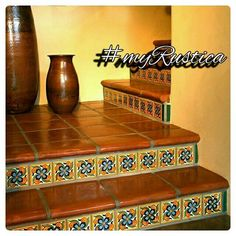 Stair Coping , Classic- width, Mexican Saltillo Floor Paver Basement basement in spanish Spanish Style Homes, Spanish House, Spanish Style Bathrooms, Tile Stairs, Basement Stairs, Mexican Home Decor, Spanish Tile, Mexican Spanish, Spanish Colonial