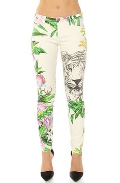 The Printed Jungle Skinny Jean in Tiger by Blank NYC  80.00