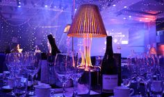 Beautiful gold lampshade lit centrepieces to hire in the UK. Book today to avoid disappointment! Lighted Centerpieces, Centrepieces, Decoration Piece, Table Centers, Low Tables, Recent Events, Modern Table, Disappointment, Glow