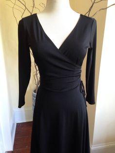 MAGGY LONDON BLACK BALLET Womens Dress 4 FAUX WRAP WORK STRETCH DANCE SMALL #MaggyLondon #WrapDress #WeartoWork