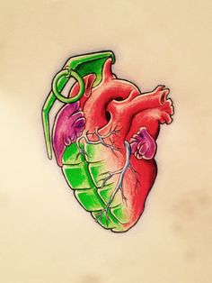 A drawing of mine to be tattooed on myself! #heart #anatomically #tattoo #newschool #grenade