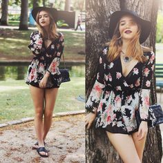 Cute floral romper just got in>>Available now at www.facebook.com/agameartists message us to place order!