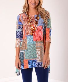 Love this Blue & Coral Abstract Patchwork Sidetail Tunic on #zulily! #zulilyfinds