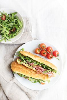 Parmesan Eclair Sandwiches-Savory Parmesan Pate a Choux  made into sandwiches with your favorite fillings like prosciutto, baby lettuce and tomatoes!