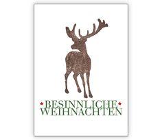 Besinnliche Weihnachtskarte mit Hirsch - http://www.1agrusskarten.de/shop/besinnliche-weihnachtskarte-mit-hirsch/    00017_0_1132, Feiertage, Grußkarte, Heiligabend, Hirsch, Klappkarte, Tiere, Weihnachtskarten, Wild00017_0_1132, Feiertage, Grußkarte, Heiligabend, Hirsch, Klappkarte, Tiere, Weihnachtskarten, Wild
