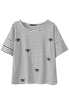 Stripe&Eyes Embroidery T-Shirt