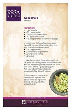 Rosa Mexicano NYC Guacamole Recipe. Most AMAZING guacamole I've ever tasted in my life.