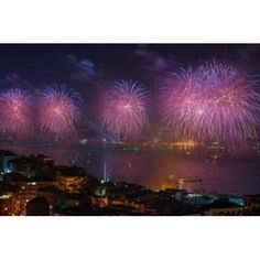 Fireworks display over the Bosphorus Istanbul Turkey Canvas Art - Ali Kabas DanitaDelimont (25 x 17)