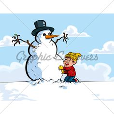 Cartoon of boy building a snowman. A blue sky in the background Christmas Cartoon Pictures, Christmas Cartoons, Build A Snowman, Cartoon Pics, Snoopy, Sky, Blue, Painting, Fictional Characters