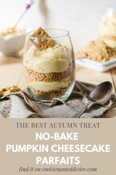 These no-bake pumpkin cheesecake parfaits are a quick and easy dessert that you will love all season long Pumpkin Pancakes, Baked Pumpkin, Pumpkin Recipes, No Bake Pumpkin Cheesecake, Pumpkin Smoothie, Fall Treats, Pumpkin Spice Latte, Easy Desserts, Baking
