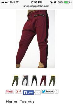 nappy tabs harem pants- i like the maroon, black and grey