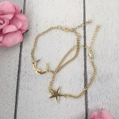 Moon and Star Gold Bracelets Silver tone moon and star bracelets. 2 come together. Alloy metal plated with gold or silver. Great gift for best friends, sisters, or wearing them together as a set. Jewelry Bracelets