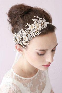 髪飾りアクセサリーパールクリスタル豪華なデザインウェデイング小物花嫁SAH025