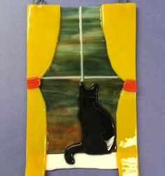 Tack fused cat silhouette in a window. All Bullseye glass. Stained Glass Art, Fused Glass, Bullseye Glass, Cat Silhouette, Art Projects, Mosaic, Leaves, Tack, Gallery