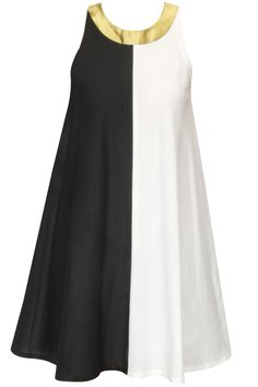 Ivory and black half and half sleeveless dress available only at Pernia's Pop-Up Shop.