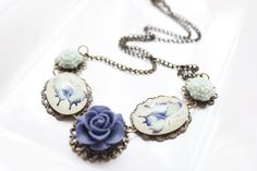 Blue flower cabochon bib necklace Vintage transparent by emndesign, $15.00