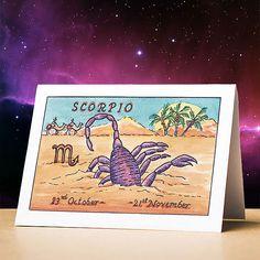 Scorpio birthday card Scorpio star sign zodiac astrology birthday card Scorpio stationery gift sun sign zodiac card for birthdays Scorpio Star Sign, Zodiac Star Signs, Scorpio Zodiac, Astrology Zodiac, Scorpio Birthday, Friend Birthday Gifts, Sun Sign, Funny Birthday Cards, Birthdays