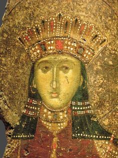 Detail of icon with St. Catherine c) Byzantine Icons, Byzantine Art, Saint Katherine, Catherine Of Alexandria, Orthodox Icons, Athens, New Art, Illusions, Photo Wall