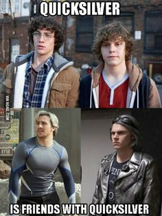 Holy fucking shit. Quicksilver (Xmen) is friends with Quicksilver (Avengers).