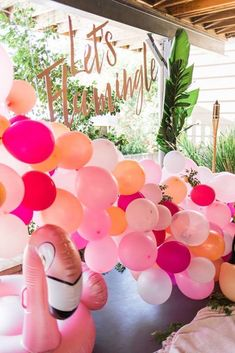 """""""Let's Flamingle"""" Tropical Flamingo Birthday Party - Bachelorette Party Ideas and Inspiration - 50th Birthday Party Decorations, 60th Birthday Party, Wife Birthday, Summer Birthday, Birthday Gifts, Happy Birthday, Pink Flamingo Party, Flamingo Birthday, Diy Rose"""