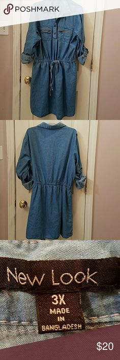 Womens Jean Dress Plus Jean Dress. Good condition. Comfy with drawstring around waist. May fold sleeves up or down. 100% cotton. Can fit 2X/3X but tag says 3X  (I DON'T MODEL ANY ITEMS) Dresses Midi